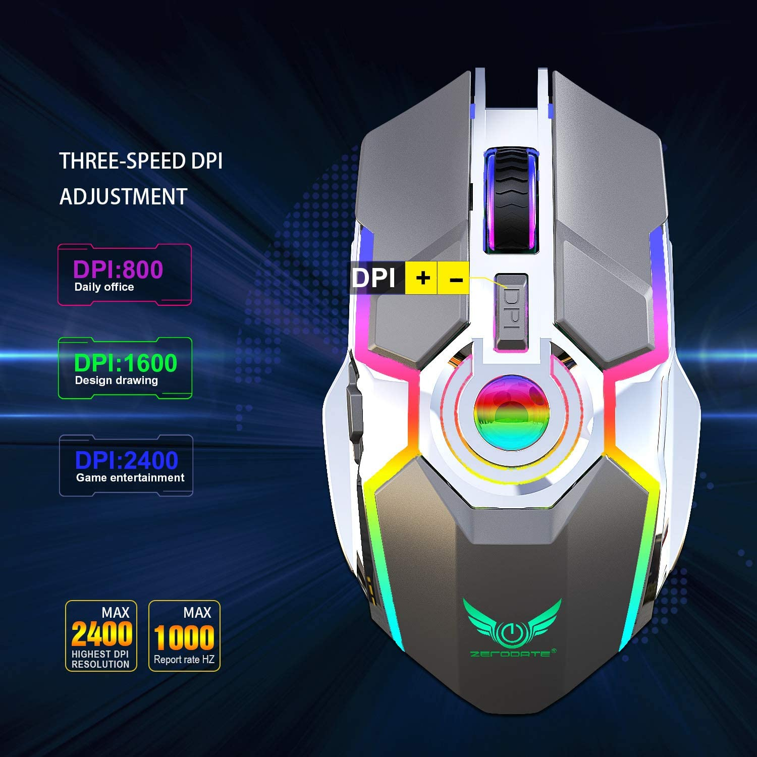 Best Choice Rechargeable Wireless Mouse Silent Ergonomic Gaming Mouse RGB Backlight for Laptop Computer ZERODATE-T30B Black RGB