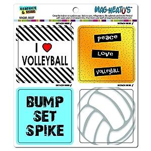 Volleyball Player Fan Love Automotive Car Refrigerator Locker Vinyl Magnet Set
