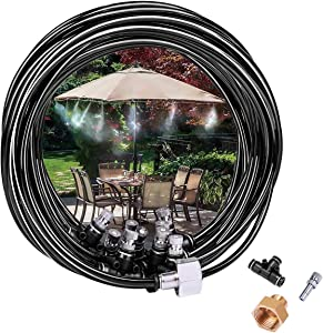 """Cairondin Outdoor Misting Cooling System, 26.2ft Misting Line(1/4""""), 10 Stainless Steel Mist Nozzles, a Brass Adapter(3/4""""), Outdoor Mister for Patio Garden Greenhouse Fan Trampoline for Waterpark"""