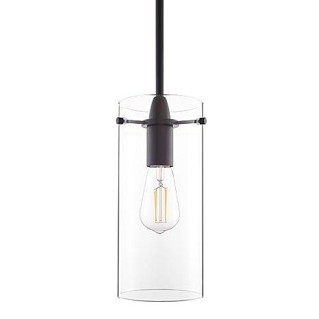 Effimero Large Hanging Pendant Light Black Kitchen Island Light Clear Glass Shade Ll P315 Blk
