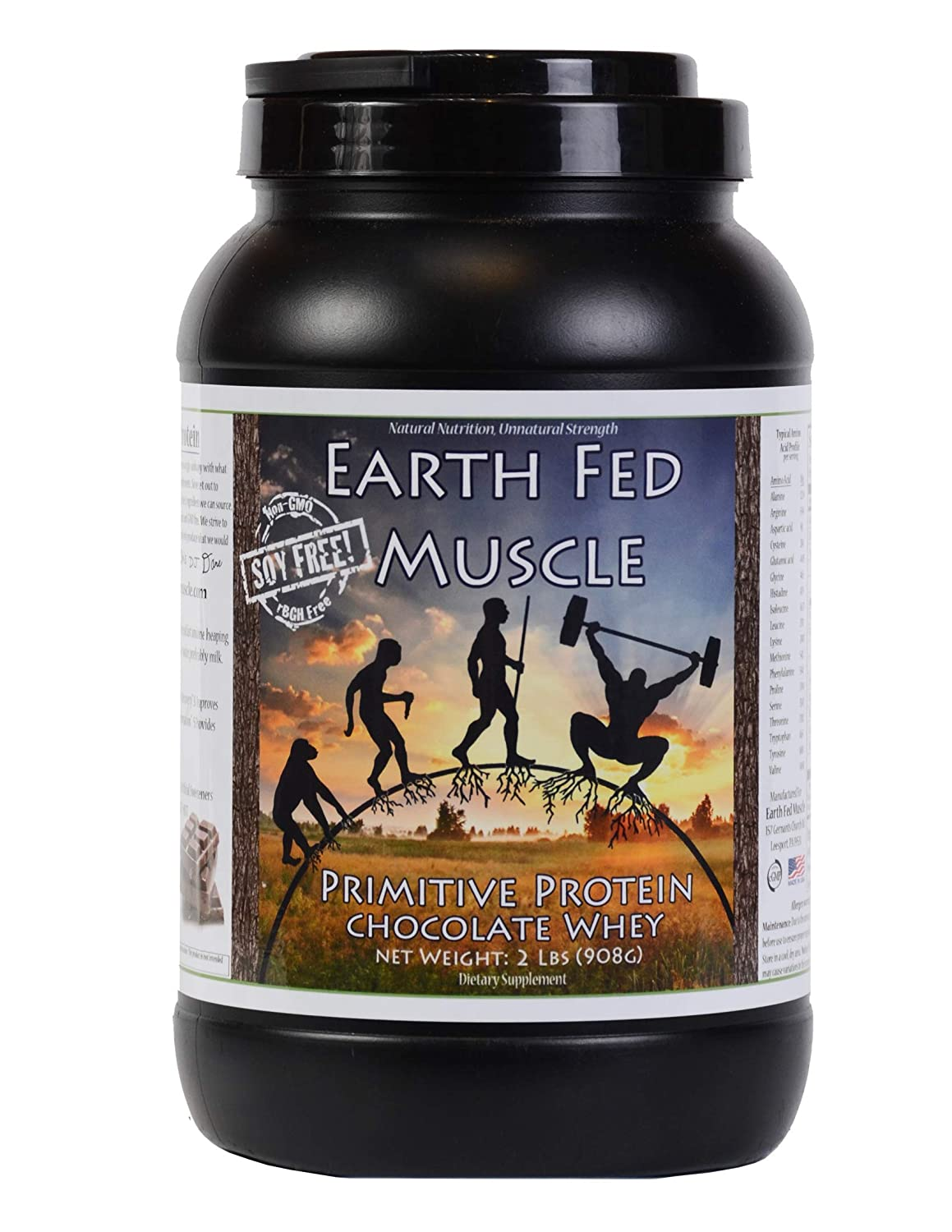 Earth Fed Muscle Primitive Protein Chocolate Whey 2lb – No Fillers, Flow Agents, or Synthetic Blends, Soy Free, Non GMO and Hormone Free Chocolate