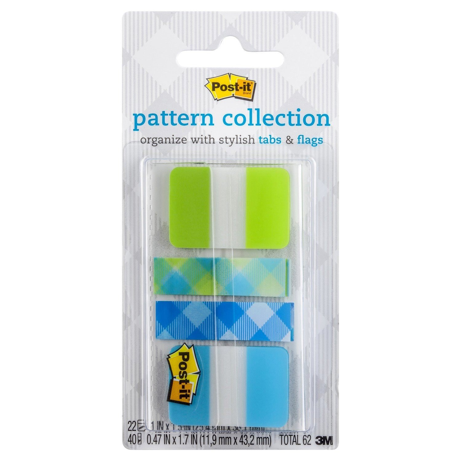 22 Tabs//Color Removes Cleanly 686L-GBR 1 in Durable Blue 66 Tabs//On-The-Go Dispenser, Lined Sticks Securely Repositionable Green Red Writable Post-it Tabs