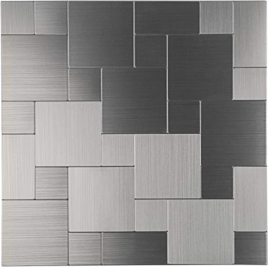 Stainless Steel Stick on Tile for Kitchen Wall Yipscazo Peel and Stick Tile Backsplash