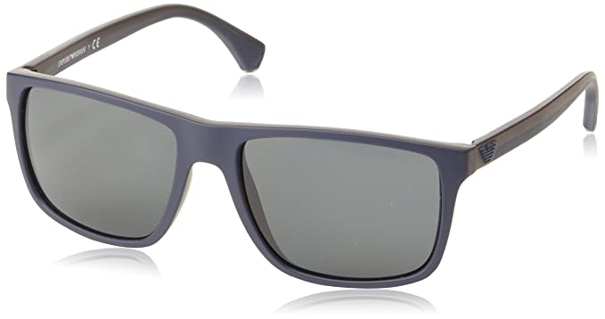 cc98de1a2a2c Emporio Armani EA 4033 5230 87 Square Sunglasses Top Blue Rubber Brown Grey  Lens