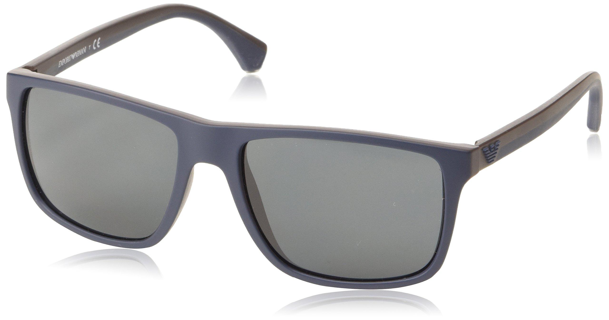 Emporio Armani EA 4033 5230/87 Square Sunglasses Top Blue Rubber Brown/Grey Lens
