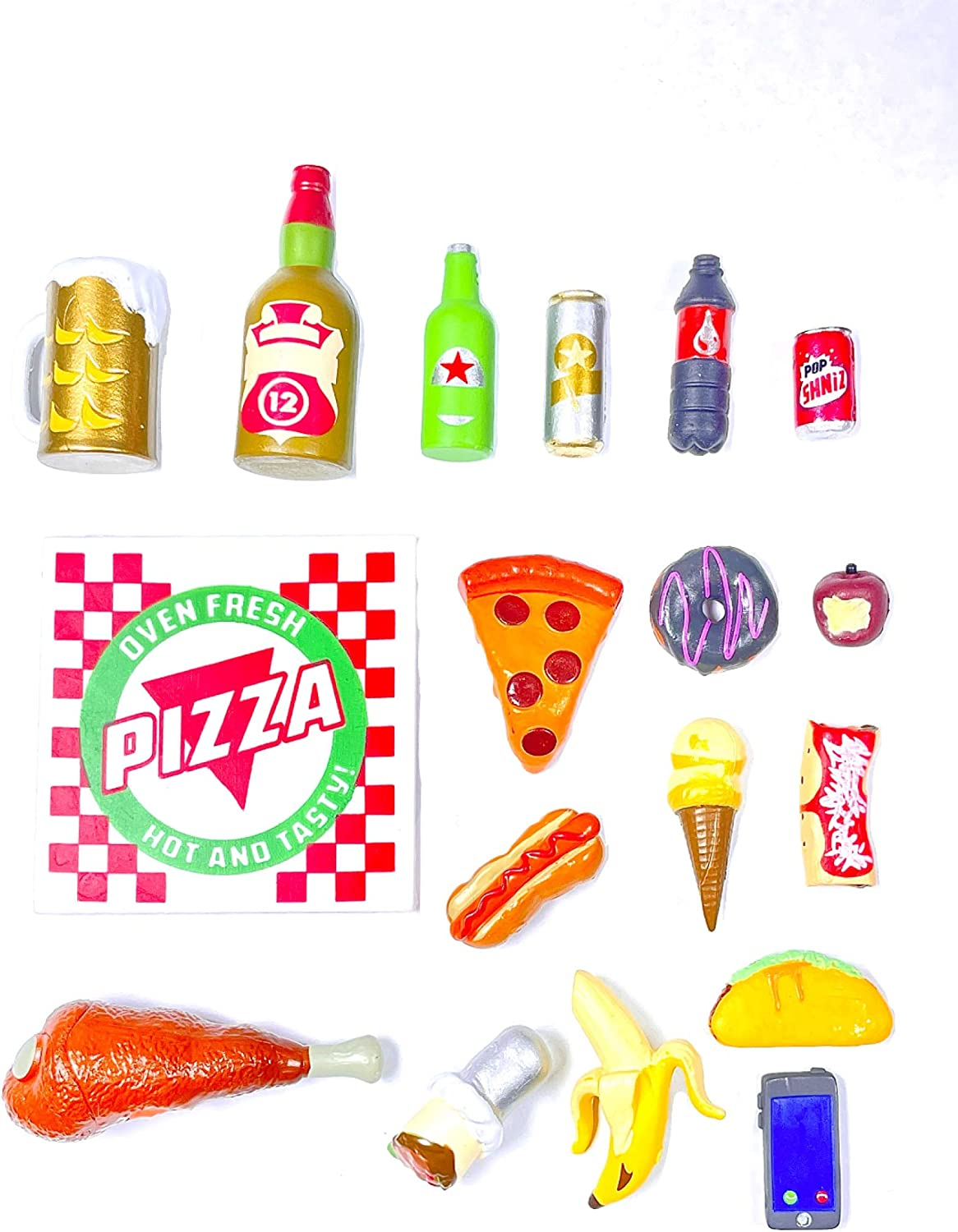 Super Action Stuff Super Foodie Recooked Action Figure Accessories 1:12 and Six inch Scale Miniature Plastic Food Accessories for 5, 6 and 7 inch Action Figure Photography Dollhouse