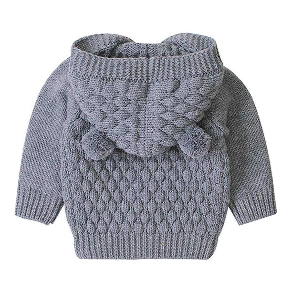 puseky Baby Boys Girls Knit Sweater Hooded Ears Warm Cardigan Coat Tops Jacket Outwear