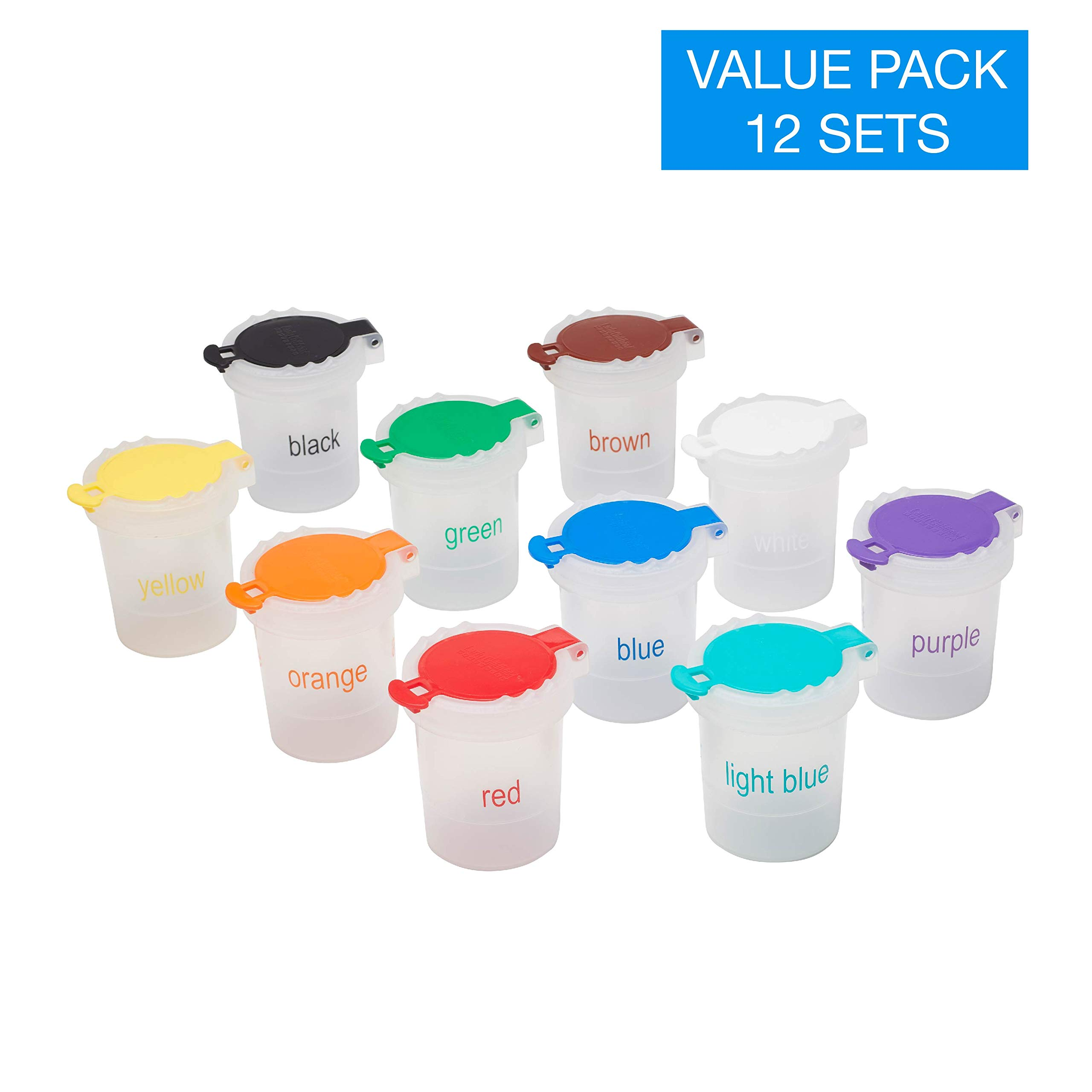 ECR4Kids Mini Trilingual Paint Cups with Lids - Educational Art Supplies for Kids and Toddlers (10-Piece Set) by ECR4Kids