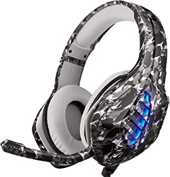 Auriculares Gaming para PS4, Moimhear Auriculares para Xbox One, Cascos Gaming con Sonido Envolvente y Reducción de Ruido-Camuflaje Gris: Amazon.es: Electrónica