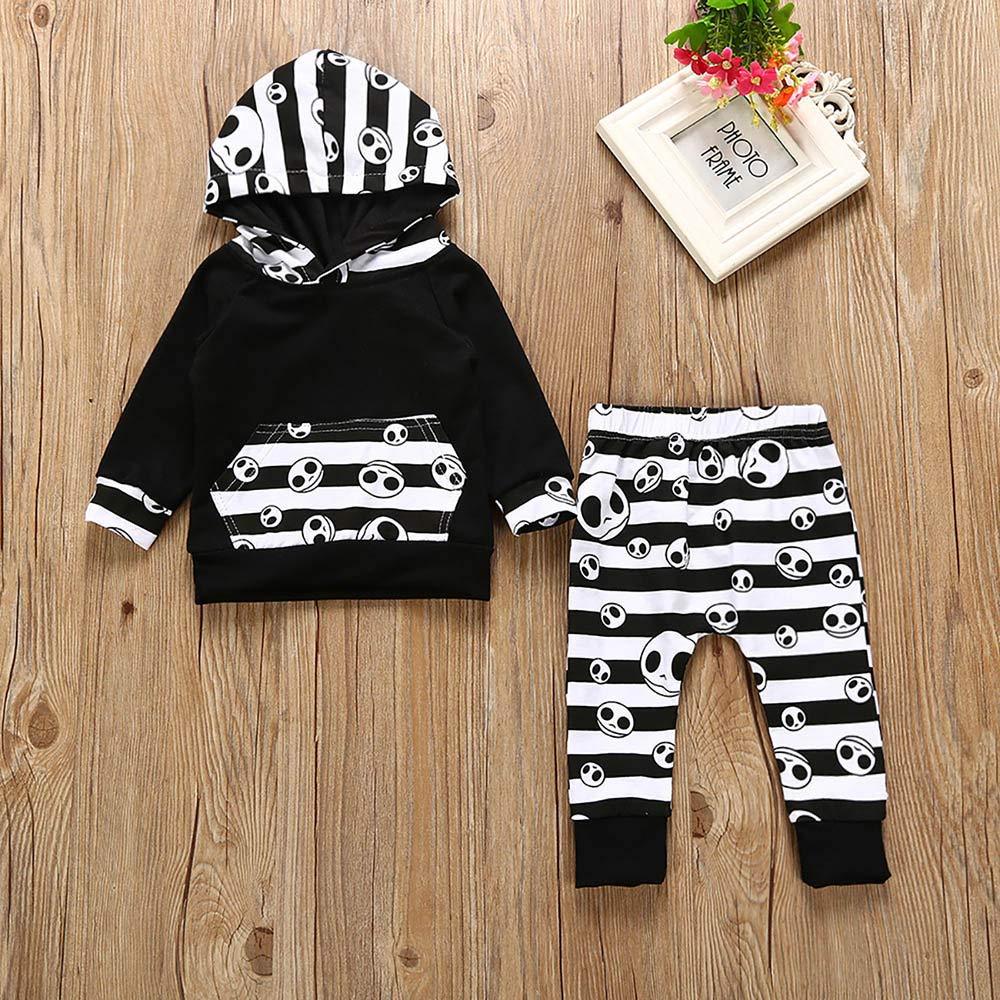 Bestow Tops con Capucha Pantalones Trajes bebé de Manga Larga Traje de suéter con Estampado de Calavera de Halloween Toddler: Amazon.es: Ropa y accesorios