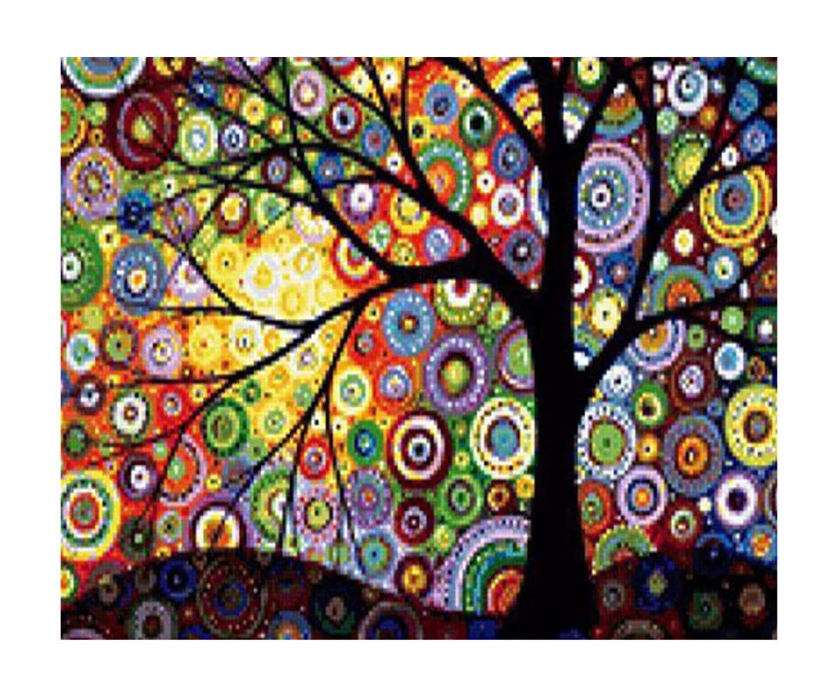 5D Full Diamond Painting Kit, DIY Rhinestone Embroidery Full Drill Cross Stitch Arts Craft for Home Wall Decor - Colorful Tree (12 x 16inch) EOBROMD