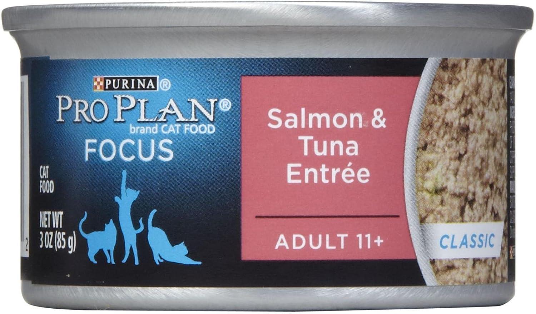 Purina Pro Plan Focus Adult 11+ Classic Salmon & Tuna Entree Wet Cat Food - Twenty-Four (24) 3 oz. Pull-Top Cans