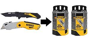 Dewalt Autoload Utility Knife and Pocket Knife Combo (2-Piece) & Blade Dispensers (2-Pack)