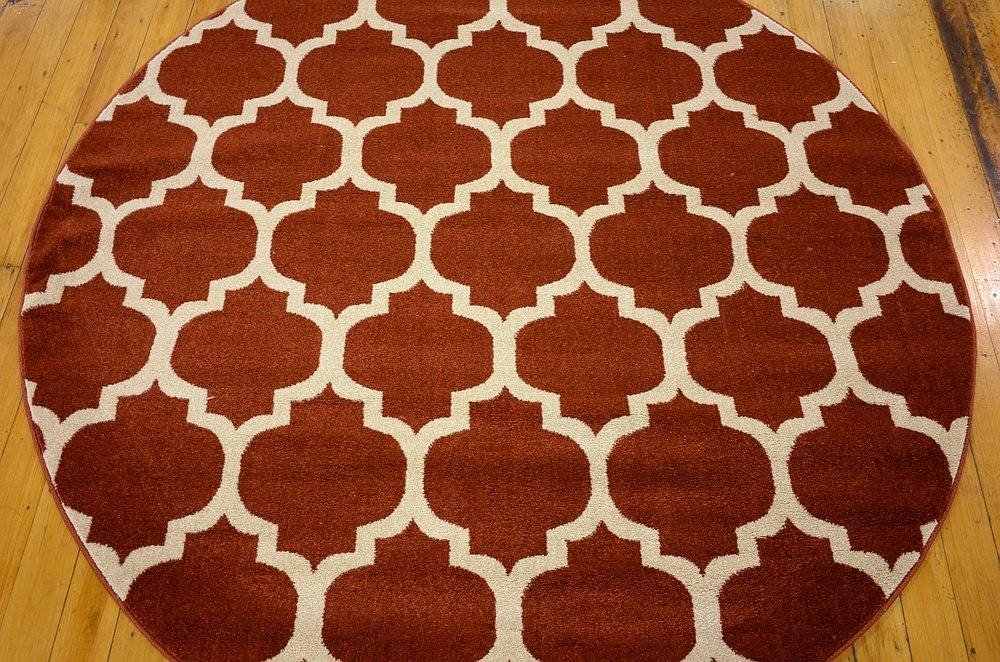 Unique Loom Trellis Collection Red 6 ft Round Area Rug (6 x 6)