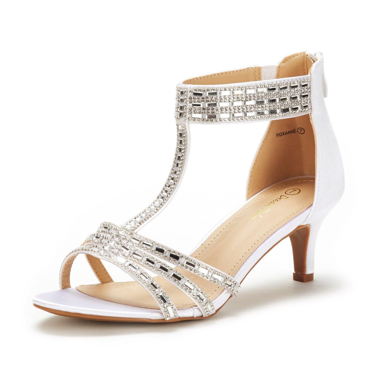DREAM PAIRS Women's Roxanne White Fashion Stilettos Open Toe Pump Heel Sandals Size 11 B(M) US
