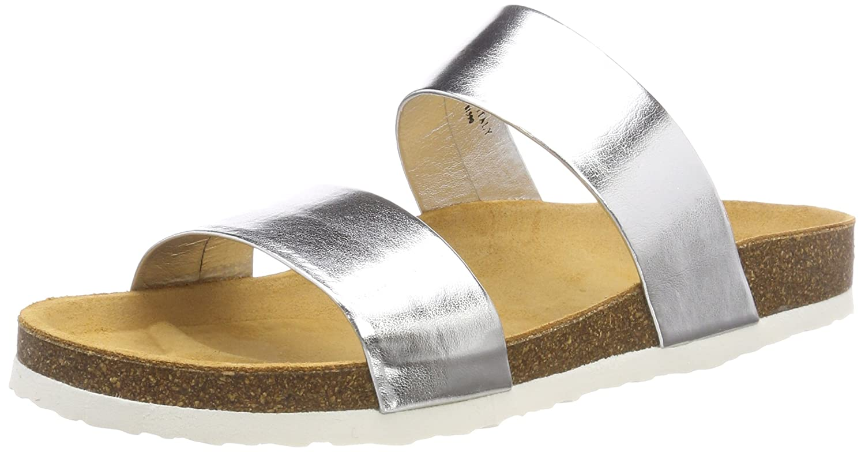 Bianco Damen Twin Strap Slip Slipper  38 EU|Silber (Silver)