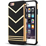 """iPhone 6 Case, iPhone 6S Case, LOEV Non-slip [Slim Fit] [2 in 1] iPhone 6 6s Protective Case, [Stylish Design] Anti-scratch Rubber Bumper Hybrid Cover Case for iPhone 6 6s 4.7"""" - Gold / Black"""