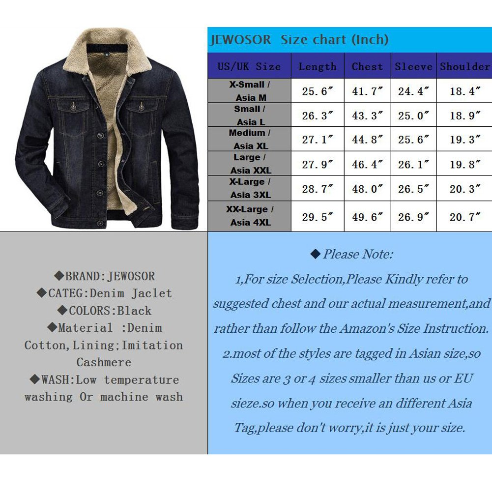 be85a3de6d5 JEWOSOR Mens Plus Velvet Winter Warm Fur Collar Slim Fit Denim Jacket  Outwear Parka Coat ... at Amazon Men s Clothing store