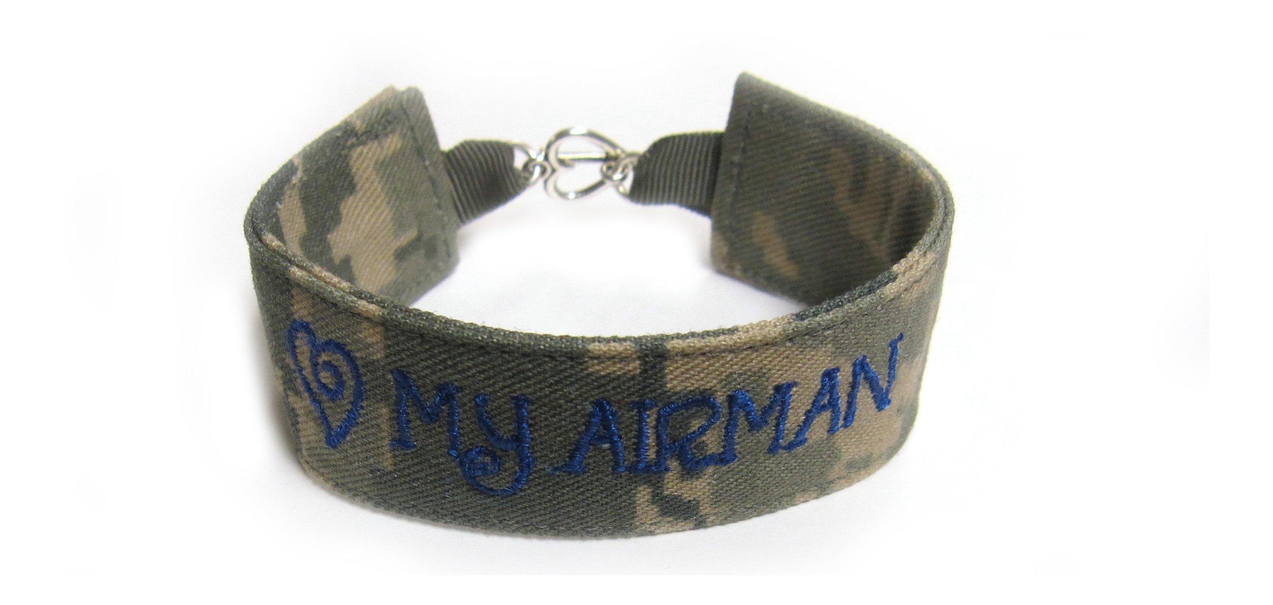 U.S. Air Force Name Tape Military Bracelet, U.S. Air Force Camo Bracelet, USAF Jewelry, Air Force Gifts