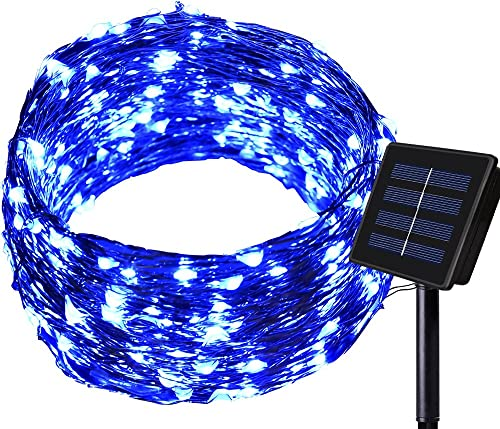 Dolucky Outdoor Solar String Lights, 1 Pack 72FT 200 LED Solar Powered Fairy Lights, 8 Modes Waterproof Copper Wire Decorative Lights for Halloween Thanksgiving Christmas Decor Blue