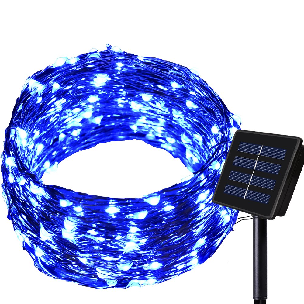 150LED 55ft 16m 8modes Solar String lights Dolucky Solar Fairy Lights Blue Waterproof Copper Wire Lights Outdoor Lighting for Garden Wedding Homes Party Halloween Chrsitmas Decoration