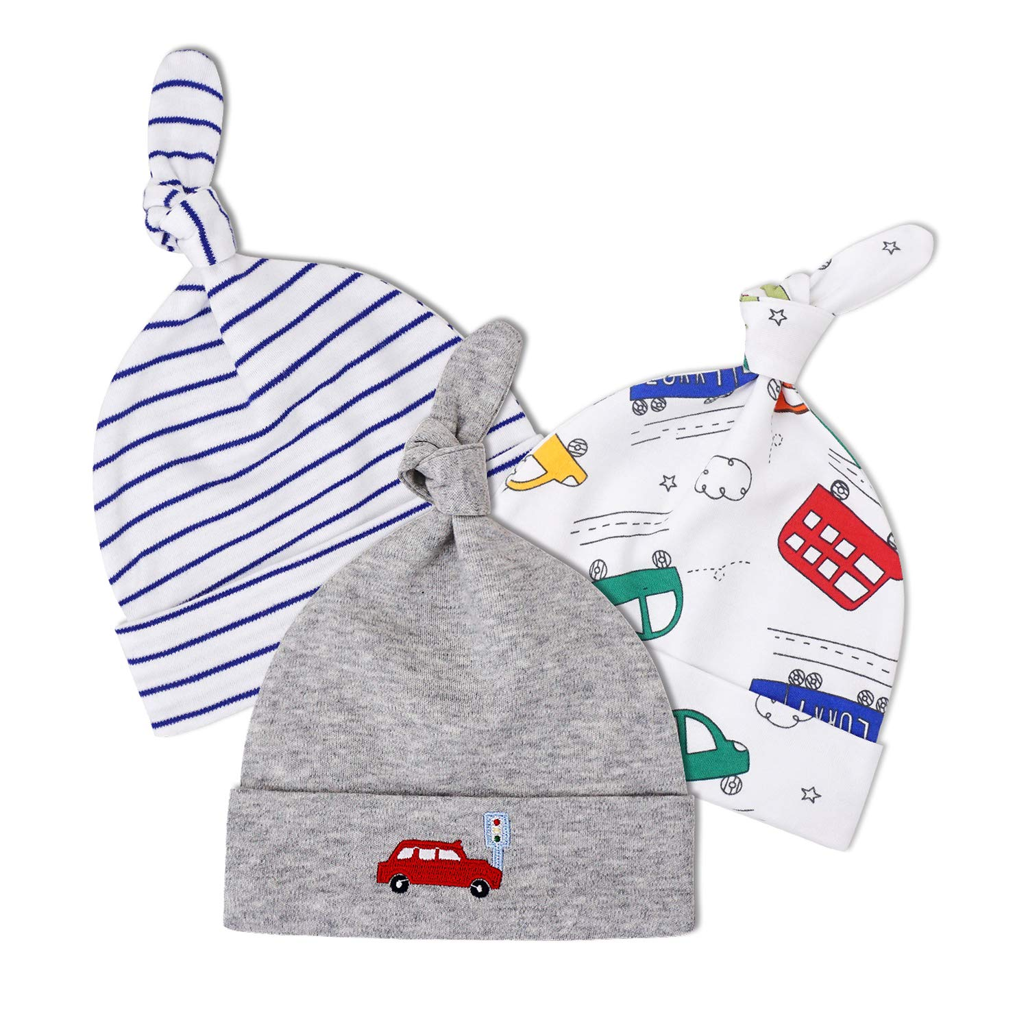 fb97ff481 WAYMO Baby Girls Hats 0-6 Months Newborn Baby Beanie Hats for Boy & Unisex  with Soft 100% Cotton Caps 3 Pack【2019 New】