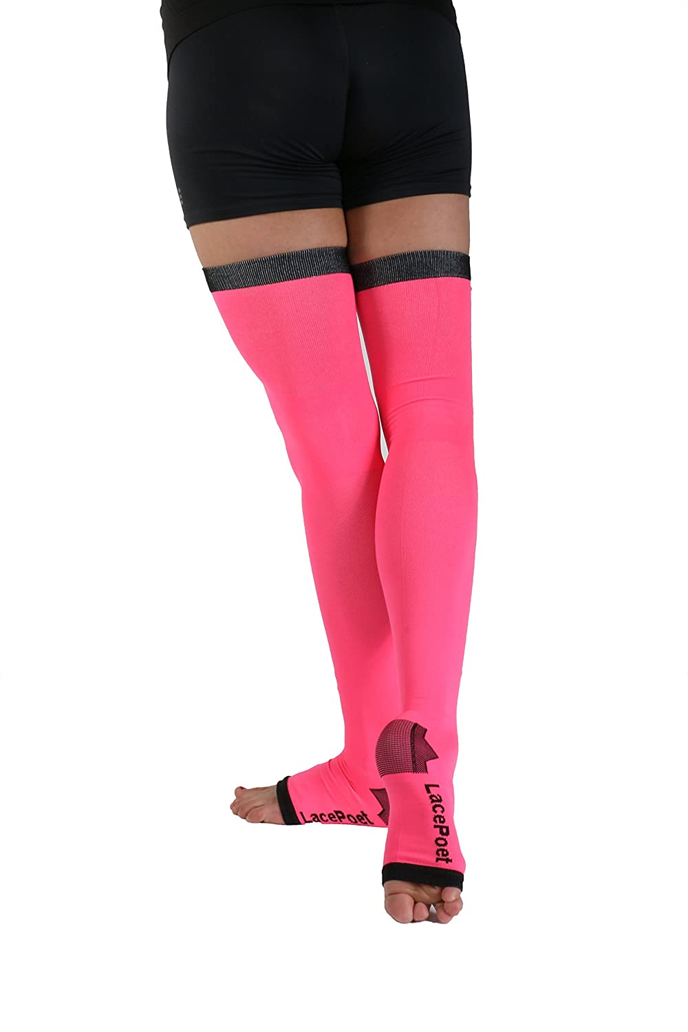 Lace Poet Yoga/Sleep Thigh-High Compression Toeless Socks