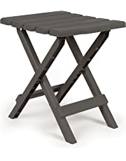 Camco 51881 Charcoal Regular Adirondack Portable Outdoor Folding Side Table, Perfect for The Beach, Camping, Picnics, Cookouts and More, Weatherproof and Rust Resistant