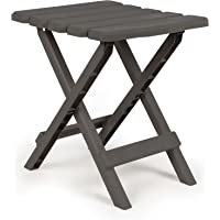 Camco 51881 Regular Adirondack Portable Outdoor Folding Side Table, Perfect for The Beach, Camping, Picnics, Cookouts and More, Weatherproof and Rust Resistant - Charcoal