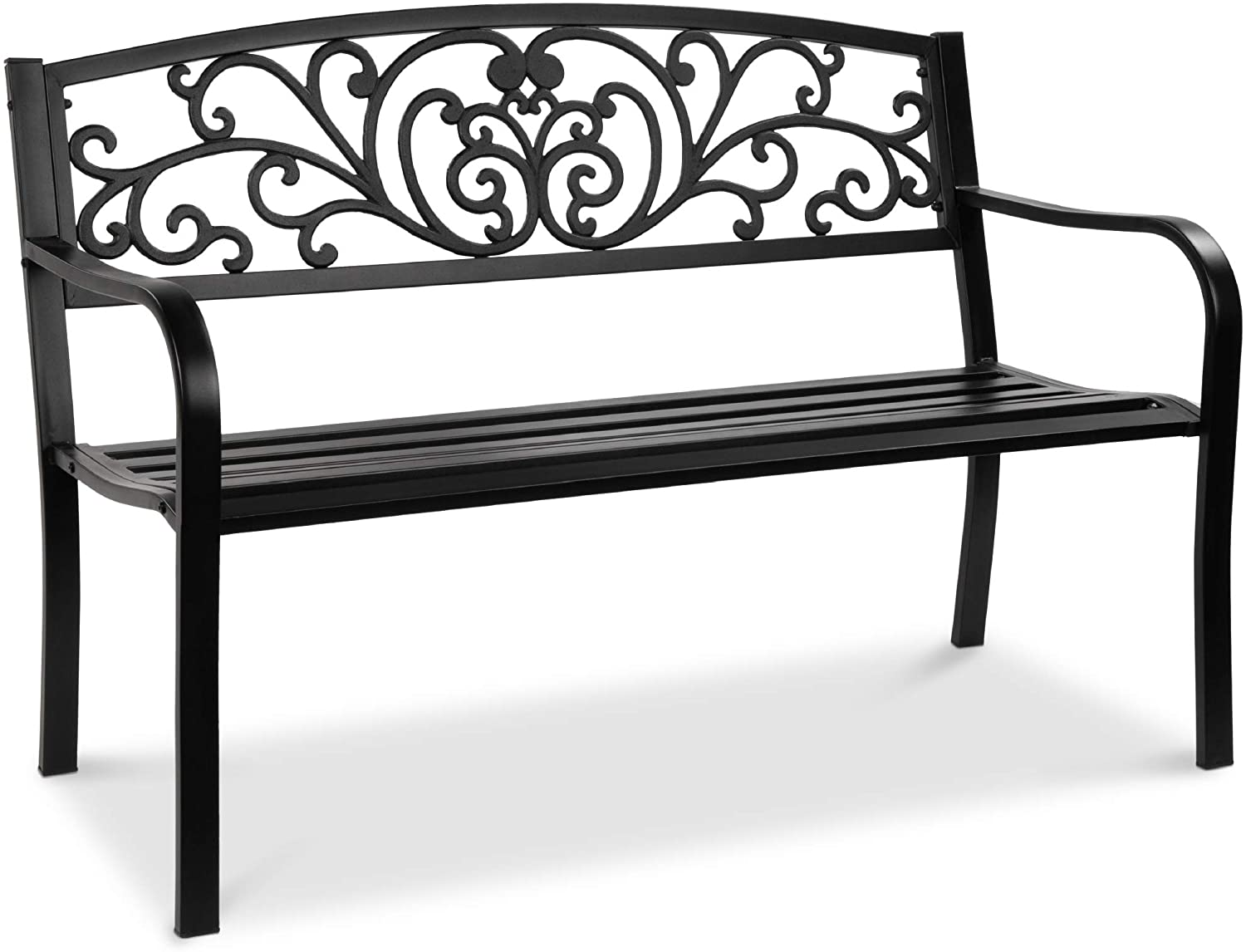 Best Choice Products 9in Steel Garden Bench for Outdoor, Park, Yard, Patio  Furniture Chair w/Floral Design Backrest, Slatted Seat - Black