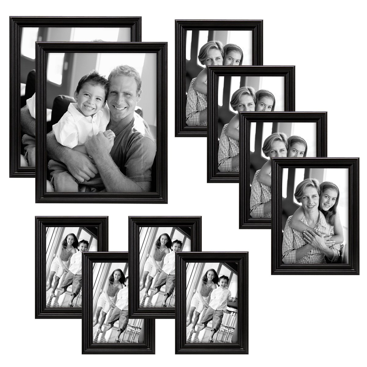 10pc Multi Pack Picture Frame Set Different Sizes Home Decor Wall