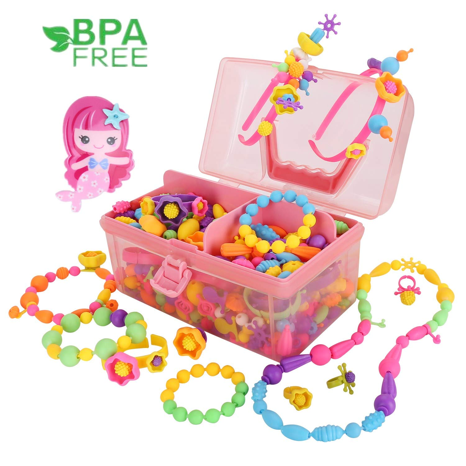 Hairband Necklace Bracelet and Ring Creativity DIY Set,Ideal Christmas Birthday Gifts for Girls Age 4 5 6 7 8 Year Old Kids Toys Conleke Pop Snap Beads with Mermaid Hairpin,Jewelry Making Kit 530PCS