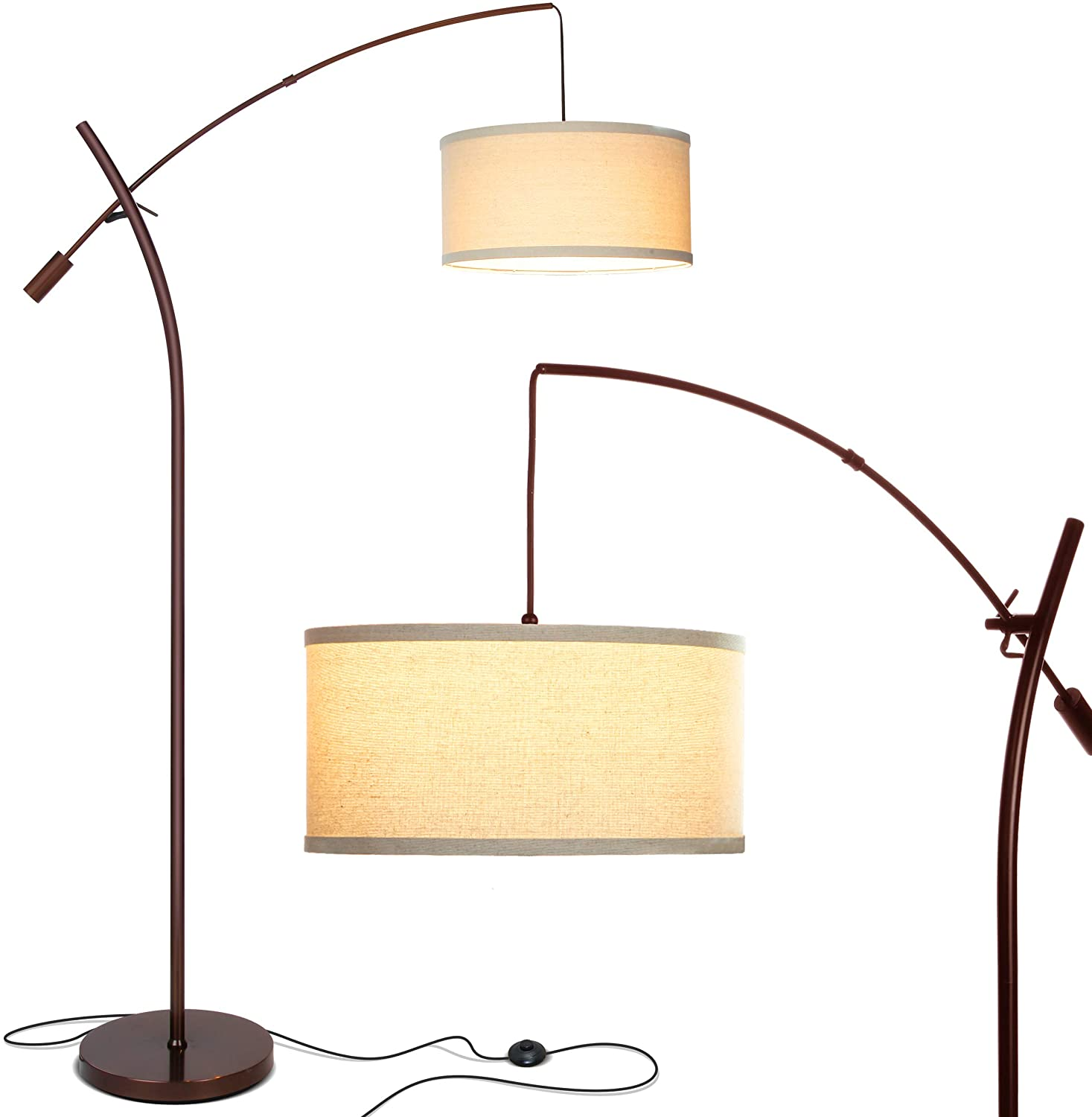 Brightech Grayson Arc Floor Lamp Tall Standing Lamp Over The Living Room Couch Adjustable Cantilever Arm With Shade Oil Brushed Bronze
