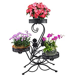 "AISHN 3-Tiered Scroll Classic Plant Stand Decorative Metal Garden Patio Standing Plant Flower Pot Rack Display Shelf Holds 3-Flower Pot with Modern""S"" Design (Black)"