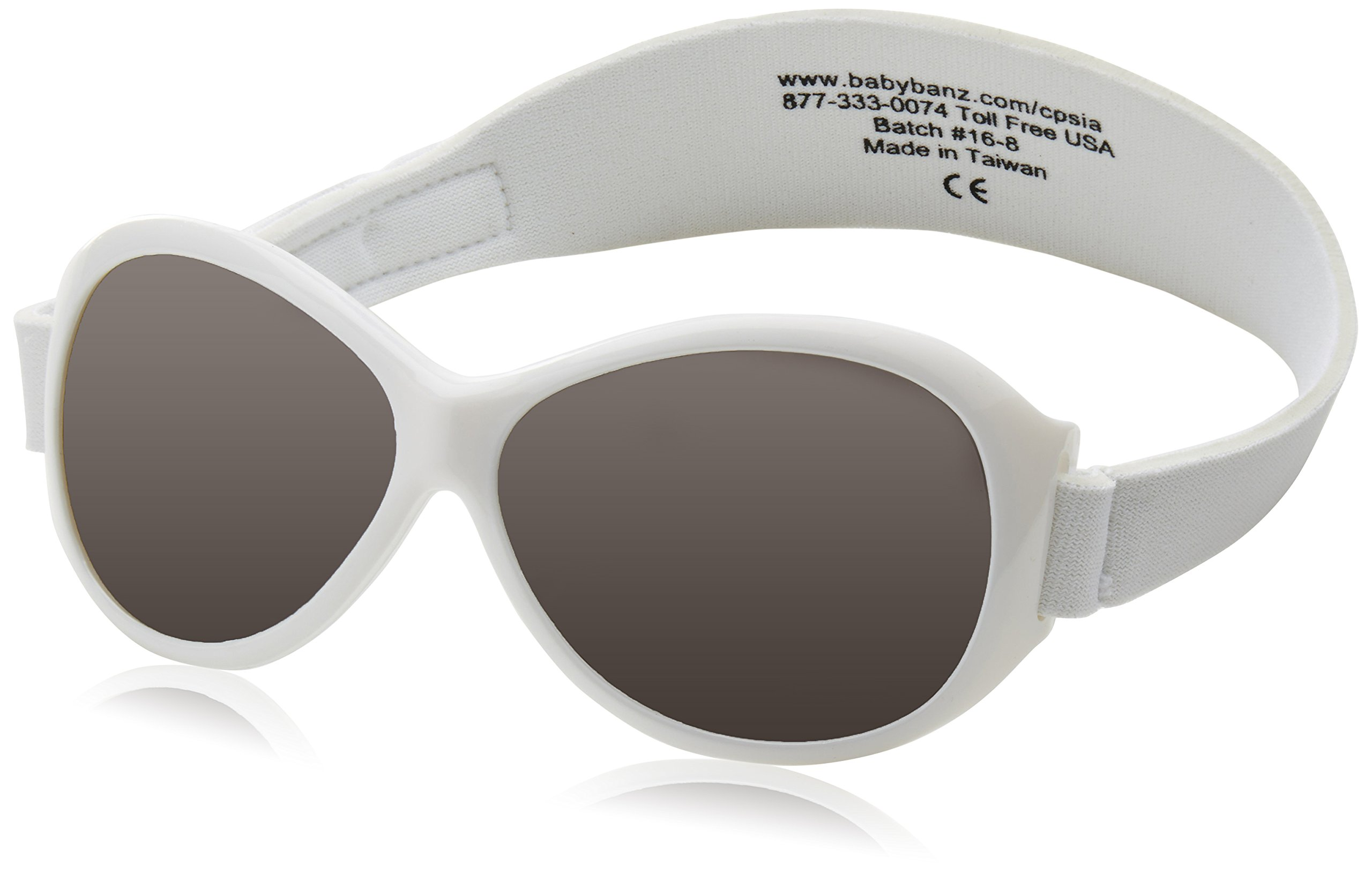 Baby Banz Retro Banz Oval Baby Sunglasses,Arctic White,One size