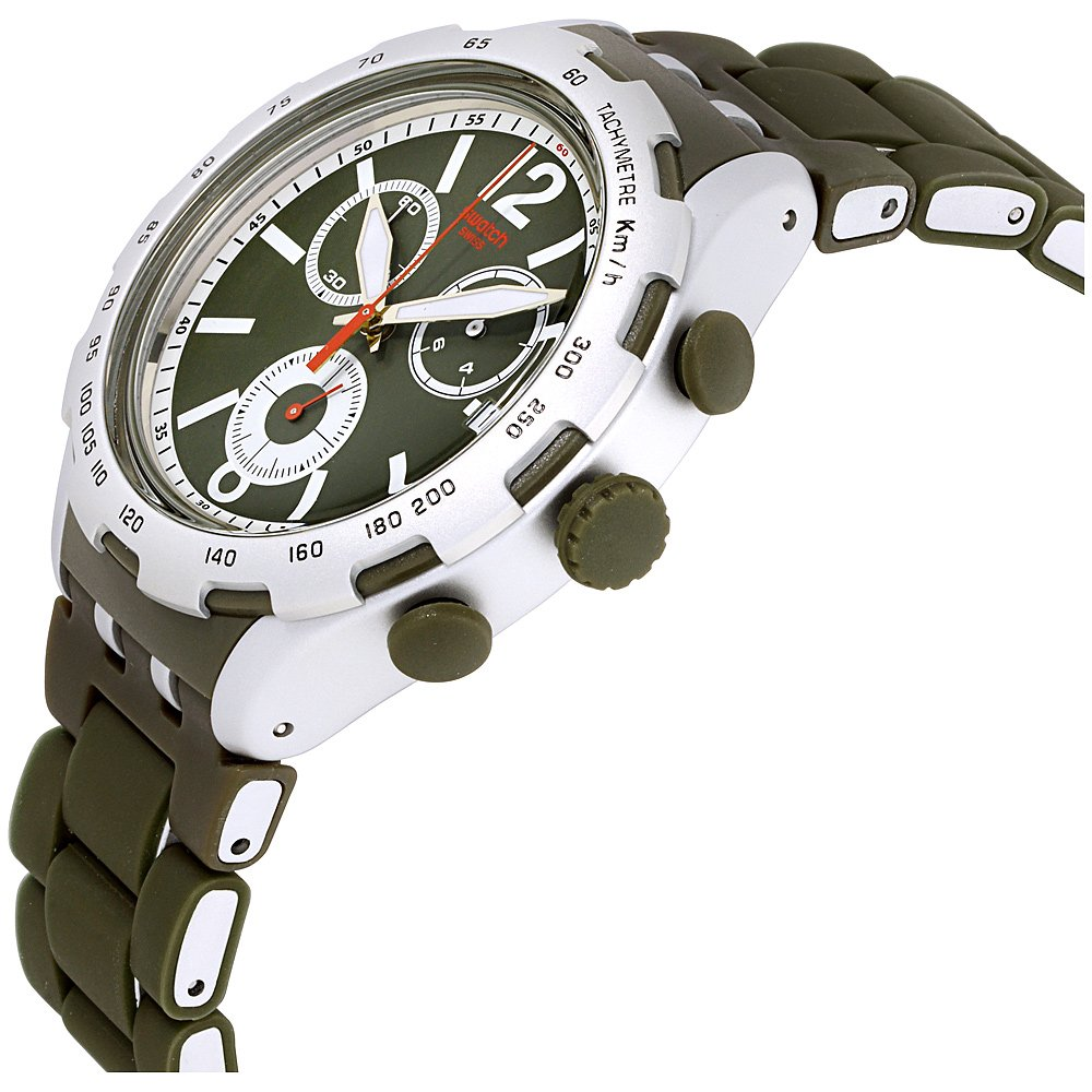 Amazon.com: Swatch Irony Green Attack Green Dial Aluminium Mens Watch YYS4022AG: Swatch: Watches