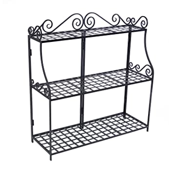 Elegant Panacea Products Forged 3 Tier Plant Stand, Black