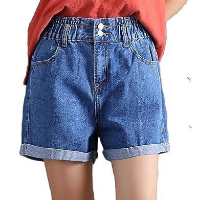 f74300768cf Pandapang Men Summer High Waist Faded Vogue Cuffed Denim Jeans Shorts Dark  Blue X-Small
