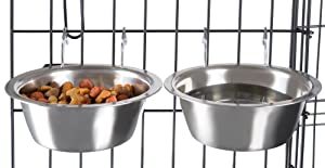 PETMAKER Stainless Steel Hanging Pet Bowls for Dogs and Cats- Cage, Kennel, and Crate Feeder Dish for Food and Water- Set of 2 Each