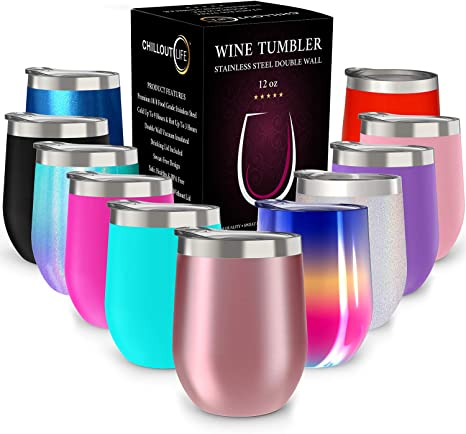 Amazon Com Chillout Life 12 Oz Stainless Steel Tumbler With Lid And Gift Box Wine Tumbler Double Wall Vacuum Insulated Travel Tumbler Cup For Coffee Wine Cocktails Ice Cream Kitchen Dining