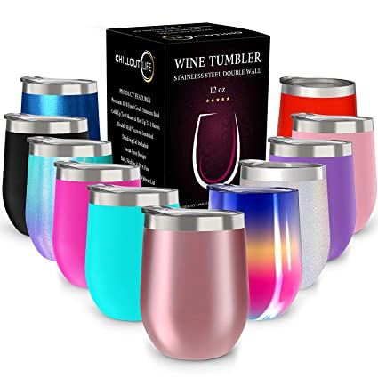 3f85cabe731 CHILLOUT LIFE 12 oz Stainless Steel Tumbler with Lid & Gift Box | Wine  Tumbler Double