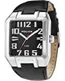 Police Main Street Men's Quartz Watch with Black Dial Analogue Display and Black Leather Strap 13751JS/02