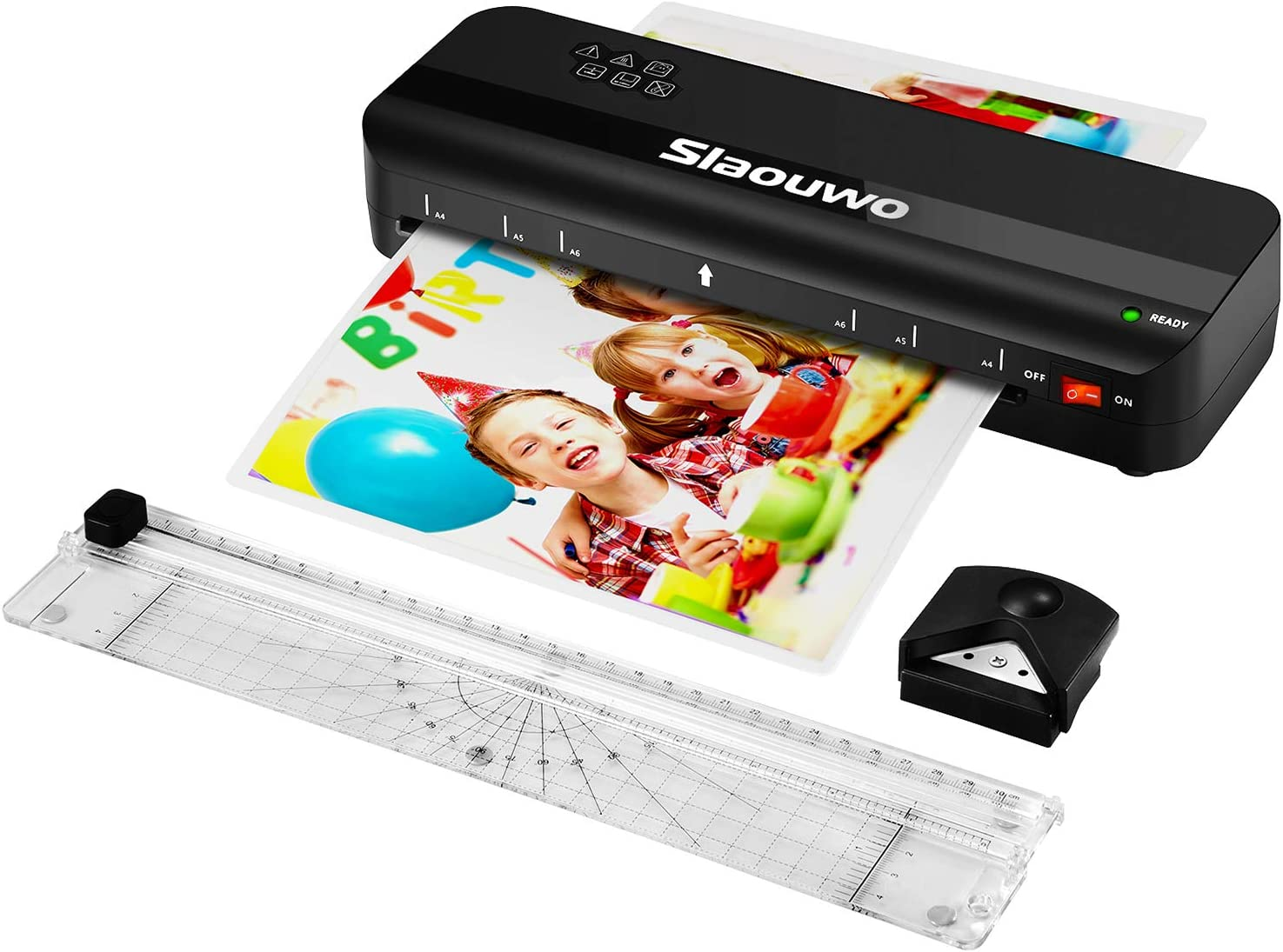 Laminator Machine, Slaouwo A4 Thermal Laminator Machine with 30 Laminating Sheets, 4 in 1 Portable Laminator with Paper Trimmer and Corner Rounder
