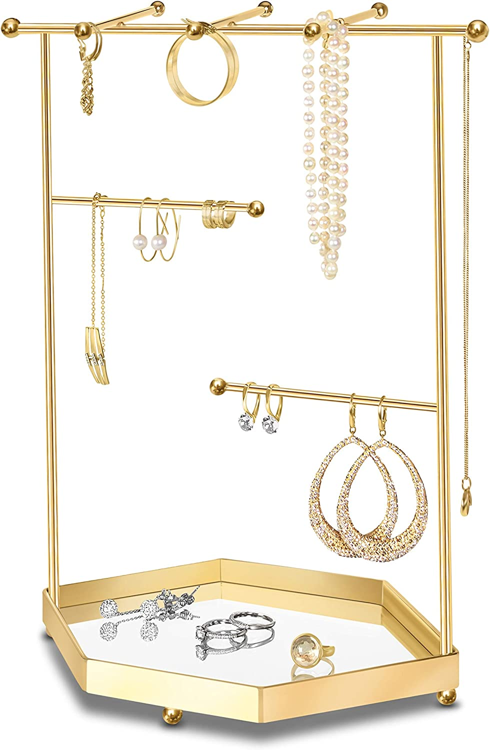 LeniLena Jewelry Organizer with Mirror Tray Base, Bracelet & Necklace Hanger, Ring Tree, Earrings Holder. Stand Display in Metal, Dimensions 9''x 4.8''x 11.5'' (Gold)