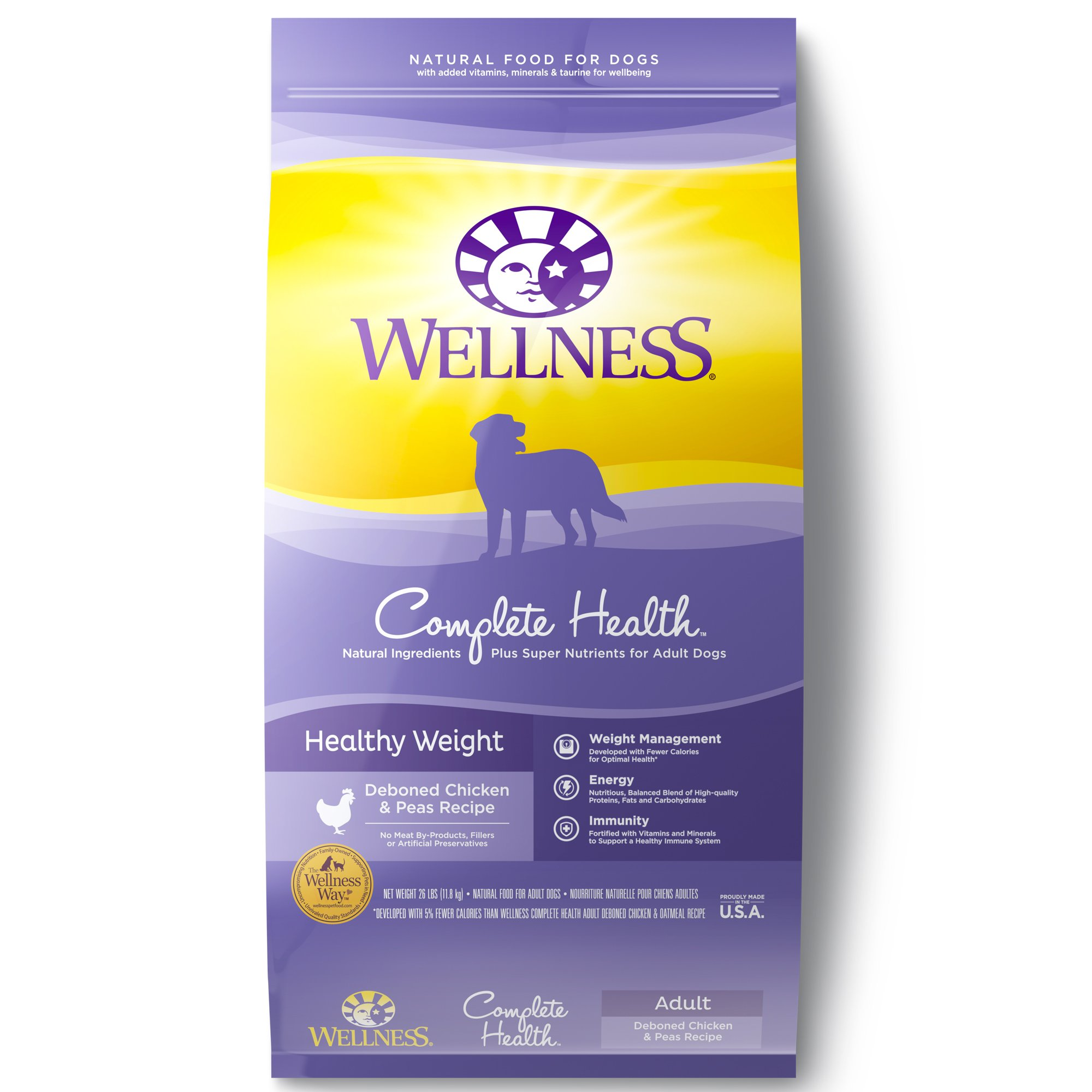 Wellness Complete Health Natural Dry Healthy Weight Dog Food, Chicken & Peas, 26-Pound Bag by Wellness Natural Pet Food