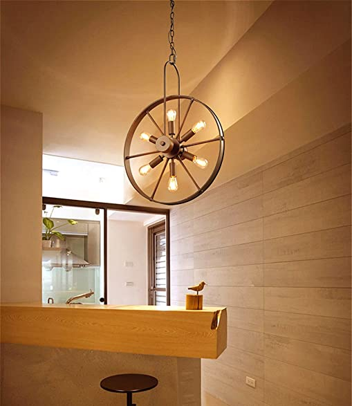 Susuo lighting 6 lights industrial country style chandeliers wheel susuo lighting 6 lights industrial country style chandeliers wheel pendant lighting metal fixture for dinning table aloadofball Gallery