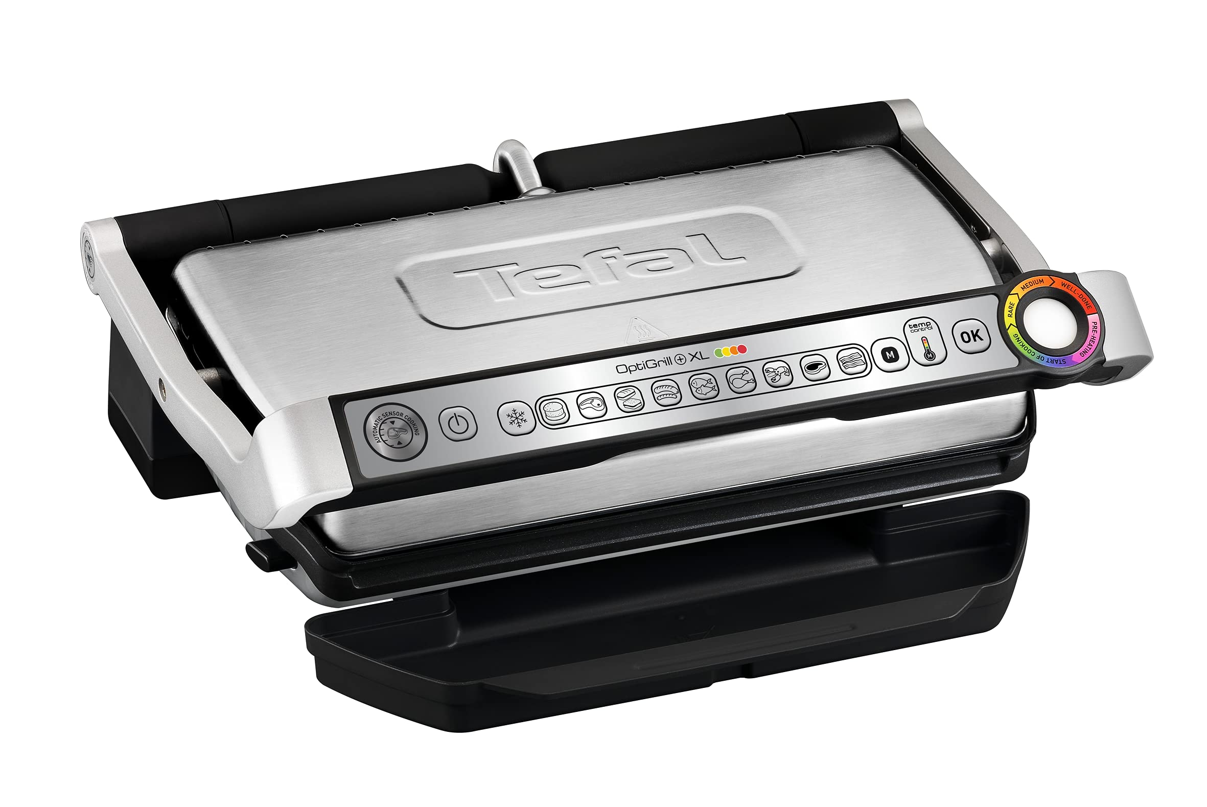 Tefal GC722D16 Optigrill+ XL Grill (8 Portions), 9 Automatic Settings and Cooking Sensor, Stainless Steel