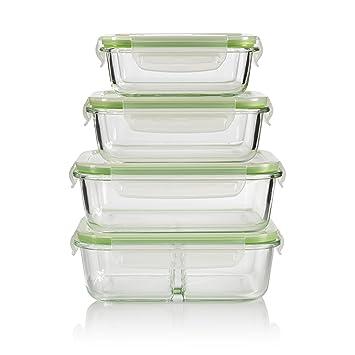 Glas-Frischhaltedosen 4er Set Glasbehälter mit luftdichten Frischeverschluss (1040, 980, 630, 370ml), Vorratsdosen Mikrowelle