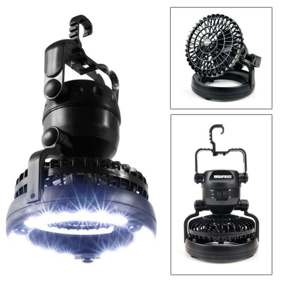 iMBAPrice Deluxe Outdoor Camping Lantern 2-In-1 Combo 18 Super Bright LED Light and Fan (CFAN-LED) Retail Box