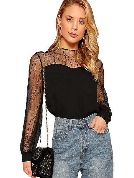 Amazon.com: Romwe - Blusa de gasa para mujer, elegante, de ...